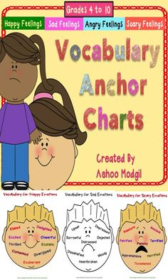Emotions and Feelings Vocabulary anchor charts are great for writing classrooms and workshops to let kids practise good vocabulary choices as they write. It includes 1Four colored as well as black and white Anchor Charts to practice vocabulary related to happy, sad, angry and scary feelings characters might feel in stories.2 Mini Anchor Charts to be used as Task Cards to assess understanding and comprehension of kids to use these words appropriately.