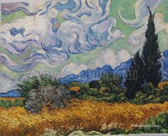 "Vincent Van Gogh - ""Wheat field with Cypresses."" Impressionism by Vincent Van Gogh. Van Gogh paintings are studies in color. Be inspired by his art to help you understand how to put a paint color scheme together. Van Gogh Arte, Van Gogh Pinturas, Vincent Willem Van Gogh, Vincent Van Gogh Artwork, Van Gogh Paintings, Van Gogh Drawings, Paintings Online, Watercolor Paintings, Art Van"