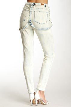 High waist jeans with braces