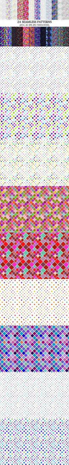 24 Seamless Square Patterns #BackgroundGraphics #PatternCollection #geometrical #GeometricDesign #MosaicGraphics #backgrounds #geometric #multicoloredgraphic #abstractbackground #MosaicBackground #background #cheap #background #multicoloredbackgrounds #mosaicbackground #background #GeometricPatterns #PatternGraphics #pattern