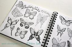 Butterfly Drawings from my Doodle Journal ©Valerie Sjodin www.valeriesjodin.com