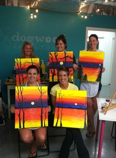 Valerie's Painting Party! To book a wine and painting party, email robin@dogwoodartstudio.com