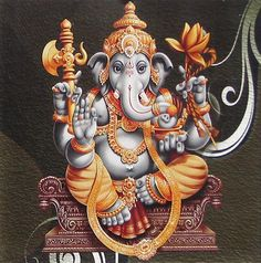 Ganesha Sitting on a Throne - Reprint on Card Paper