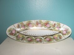 Beautiful Long Oval Dish With Vintage Scenes And Gold Trim, Crown Makers Mark On Bottom by Junkblossoms on Etsy