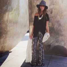 Spotted in Novella Royale bell bottom pants http://www.swell.com/Womens-Pants #SWELLFallStyle