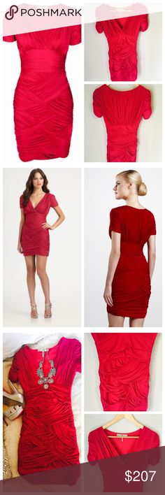 """Halston Heritage Ruched Crisscross Dress Allover rushing and a woven-effect on the skirt complete this ultra- flattering style. Surplice neckline. Short sleeves. Banded waist. Concealed side zip. About 23"""" from natural waist. 72% Acetate 28% Nylon Halston Heritage Dresses Mini"""