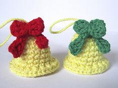 crochet bells    there IS a pattern just click on link close to bottom of page & then keep scrolling until through the Spanish version until you find the English version 12/7/13 AB