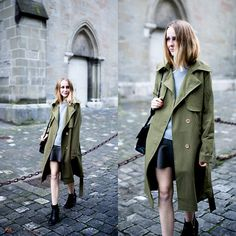 TIPHAINE  P - Coat, Sweater, Skirt, Boots, Bag - The army green coat.