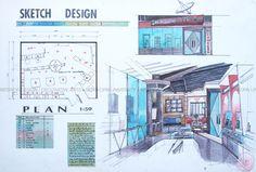 437003 จงสุภี ตัณฑ์จยะ Interior Design History, Interior Design Renderings, Interior Design Boards, Interior Sketch, Decor Interior Design, Grey Colour Chart, Gray Color, Sketch Design, Layout Design