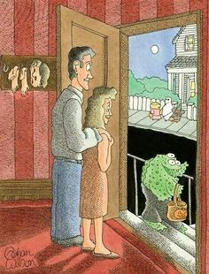 It took me a minute to find the joke, but this is really really funny! Gahan Wilson, Holiday Cartoon, Wilson Art, Fun Comics, Macabre, Trick Or Treat, Illustrators, Graphic Art, Vintage Ladies