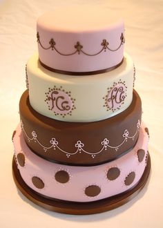 Pretty Brown and Pink Themed Cake