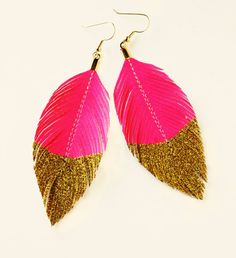 Neon Pink Gold Glitter Dipped - Faux Leather Feather Earrings - Surgical Steel Available - FREE SHIP. $24.80, via Etsy.
