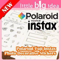 New Polaroid Instax Photo Deocration Sticker Set 8 Sheets Lot Scrapbook Album 5-6€