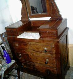 Antique Solid Wood Eastlake Victorian Marble Top Dresser