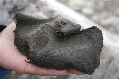 """""""A Viking-era woollen mitten found by a shrinking glacier in the mountains of south Norway in 2011 is seen in this undated handout picture released by the Oppland county council March 21, 2013. REUTERS/Oppland county council/Handout""""  Personal note: The seam across the palm looks similar to the undated leather mitten found in Oslo, now at the Kulturhistorisk museum, acc.no.  C28153"""