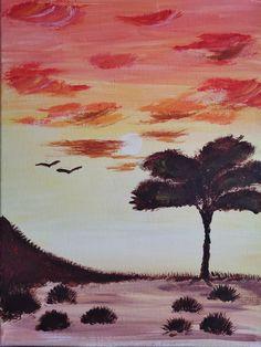 acrylic on the canvas Fine Art, Sunset, Canvas, Painting, Tela, Painting Art, Canvases, Paintings, Sunsets