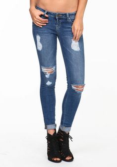 118d9e64ae Ripped Cuffed Jeans  lowrise  skinnyjeans  distressed  shredded  cuffed   spring  newarrivals  loveculture