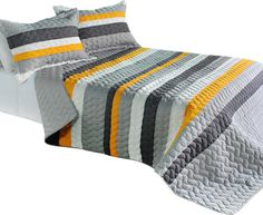 [Modern Life] Cotton 3PC Vermicelli-Quilted Striped Quilt Set (Full/Queen Size) eclectic-quilts