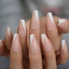 French Tip Acrylic Nails, White Tip Nails, Acrylic Nails Coffin Short, Simple Acrylic Nails, Best Acrylic Nails, White Lines On Nails, Diagonal Nails, Triangle Nails, Polygel Nails