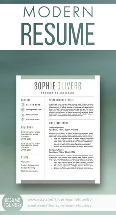 Stylish, best-selling resume template. Includes 1, 2 or 3 page resumes, cover letter template and reference letter template.