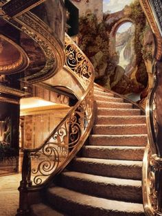 Few Breathtaking DIY Stairs Projects - In most of the houses stairs are just being used from taking you from one point to another. If your stairs do the same purpose only then you are missi. Grand Staircase, Spiral Staircase, Staircase Design, Winding Staircase, Beautiful Architecture, Interior Architecture, Interior And Exterior, Interior Design, Elven City