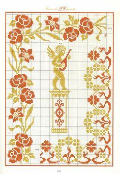 Répertoire des Frises ♡ 160 Stitch And Angel, Cross Stitch Angels, Cross Stitch Love, Cross Stitch Borders, Cross Stitch Charts, Cross Stitch Designs, Cross Stitching, Cross Stitch Embroidery, Embroidery Patterns