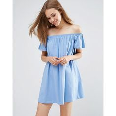 ASOS Off Shoulder Mini Dress (£19) ❤ liked on Polyvore featuring dresses, blue, loose fitting dresses, tall dresses, short loose dresses, off the shoulder dress and loose fit dress