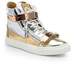 #Ad - Giuseppe Zanotti Leather Bar High-Top Sneakers