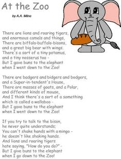 Zoo Coloring Pages For Preschoolers | List of all Poetry Sections ] [ All Animals ] [ A.A. Milne ]