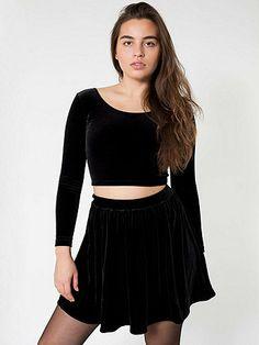 Stretch Velvet Skirt | American Apparel