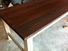 DIY Farm Table - love the color of the red oak stain. Would look really good for a floor!