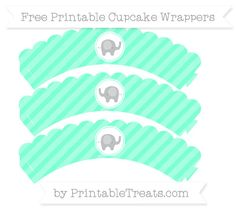 Free Aquamarine Diagonal Striped Baby Elephant Scalloped Cupcake Wrappers