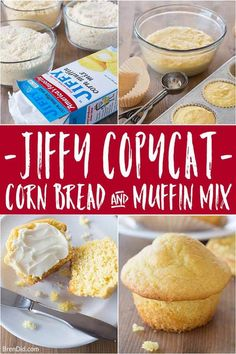 Make Jiffy cornbread mix (or gluten-free corn muffin mix) at home with this easy copycat recipe. Plus 9 variation of the classic Jiffy corn casserole recipe! Jiffy Mix Recipes, Jiffy Cornbread Recipes, Sweet Cornbread, Cornbread Muffins, Muffin Recipes, Corn Muffins, Sans Gluten, Gluten Free, Corn Muffin Mix