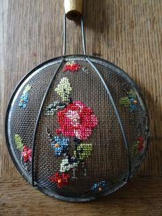 vintage flour sieve repurposed I ❤️ this! Vintage Embroidery, Ribbon Embroidery, Embroidery Art, Cross Stitch Embroidery, Embroidery Patterns, Cross Stitch Art, Cross Stitching, Cross Stitch Patterns, Ideias Diy