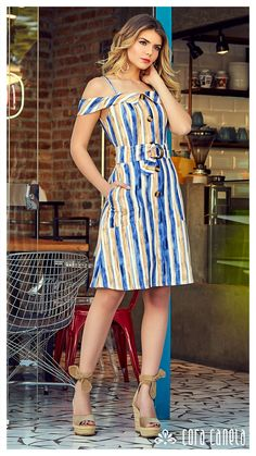 LOOKBOOK 7 – Cora Canela Vestido Casual, Striped Dress, Ideias Fashion, Diva, Womens Fashion, Fashion Trends, Plus Size, Lady, Wedges