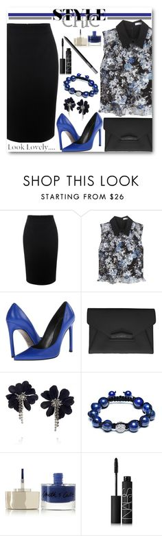 """""""Pencil Skirt & Floral Print Top"""" by brendariley-1 ❤ liked on Polyvore featuring Alexander McQueen, Erdem, Stuart Weitzman, Givenchy, Lanvin, Bling Jewelry, Smith & Cult, NARS Cosmetics, women's clothing and women's fashion"""