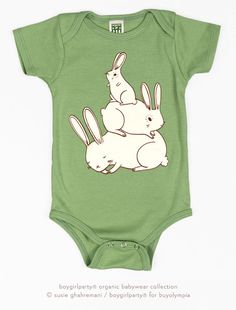 This organic bunny onesie is cute on a baby boy or girl, from the boygirlparty shop: http://shop.boygirlparty.com/collections/t-shirts-and-clothing/products/green-bunny-pile-gender-neutral-onesie-baby-bodysuit-organic