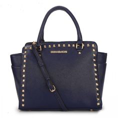 MICHAEL Michael Kors Large Selma Studded Saffiano Tote in Dark blue