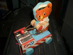 Vintage 1958 Fisher Price Tiny Teddy w/ Xylophone 636 Pull Toy