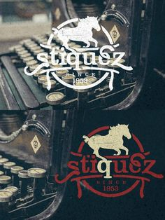 Stiquez Font - With this font you get classic display typeface. -Horse element is taken from bonus elements. --- -It is recommended to use this font in Gift Voucher Design, Wedding Fonts, Cool Fonts, Cool Logo, Glyphs, Typewriter Fonts, Display, Design Templates, Logos