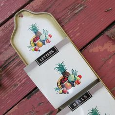 Vintage Tin Mail/ Message Rack  Kitchen Decor by SimplySuzula