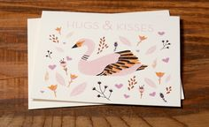 Hugs & Kisses | Red Cap Cards | Illustrated greeting card by Carrie Gifford // #swan #valentine