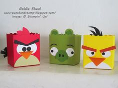 Angry Birds Fancy Favor Boxes. Punch ARt. punch and Stamp with Goldie, stampin' up!