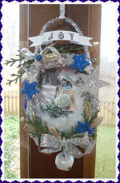 Silver & Blue Vintage Inspired Shadowbox Ornament