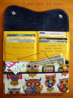 Curvy Clutch Everything Wallet Retro Owl by RoseOnTheBay