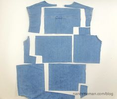 Denim short makeover shirt to hobo tote Nancy zieman