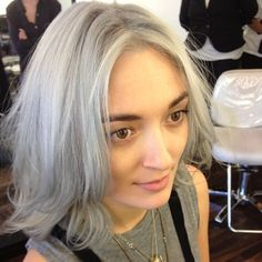 """Malu Byrne, daughter of Adelle """"Bonny"""" Lutz and David Byrne (yes, she colored her hair silver -- she's still in her 20s)"""