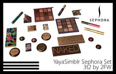 Here is YayaSimblr's Sephora Set for TS2. You get nearly 40 files (39 of them!) to mix and match, with each object having loads of recolours for your sims who like makeup to enjoy! Find in Deco - Misc for $100 each. In addition to the creator's original colours, I added some more for darker skin…