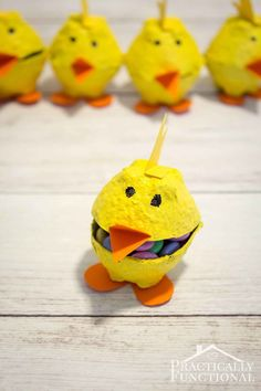 Recycle an egg carton into these cute egg carton chicks in just a few minutes; you can even fill them with treats! Great kid's craft for spring or Easter!