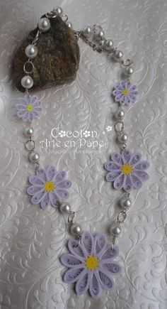 Quilled paper necklace and earrings set
